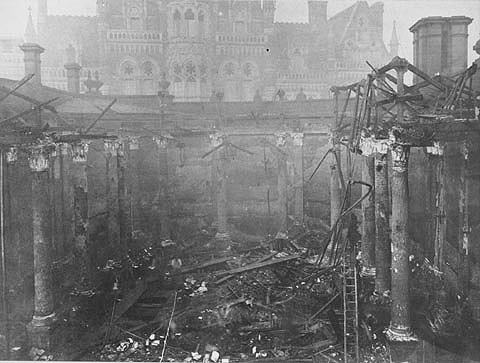 Birmingham Central Library destroyed by fire, 1879